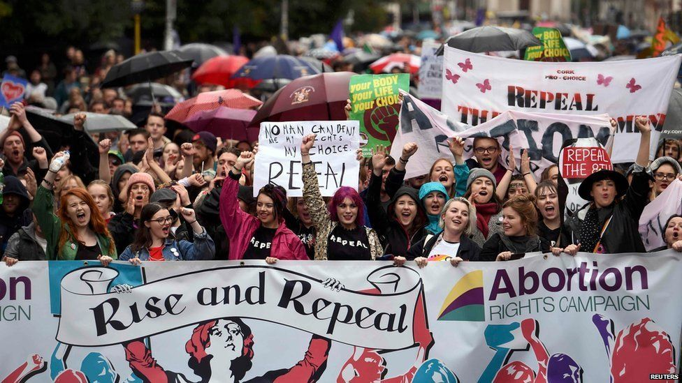 Supporters of abortion law reform demonstrate in Dublin