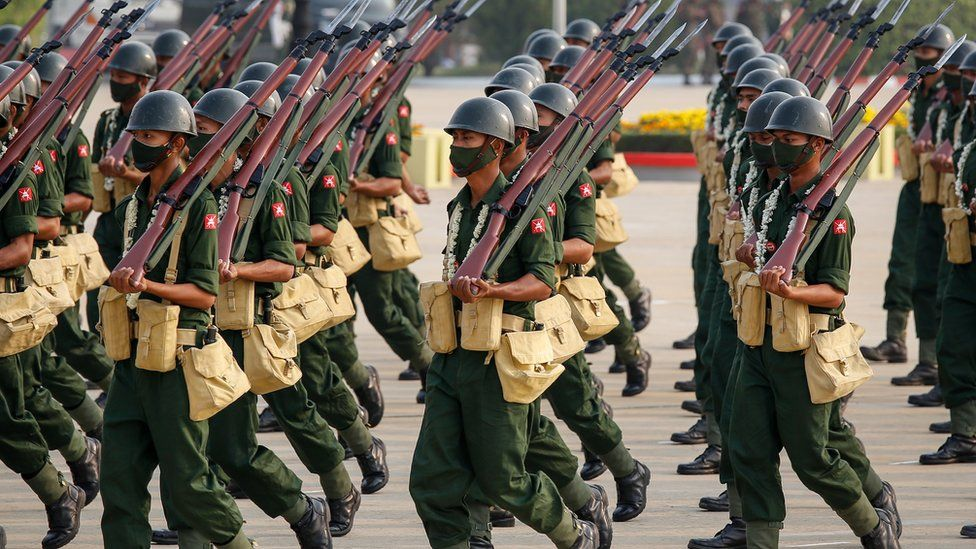 Members of the armed forces participate in a parade during the 76th Armed Forces Day in Naypyitaw, Myanmar, 27 March 2021.