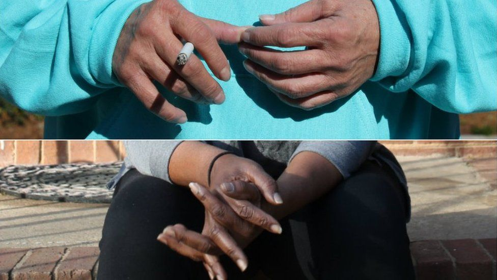 The hands of two women who did not want their faces shown