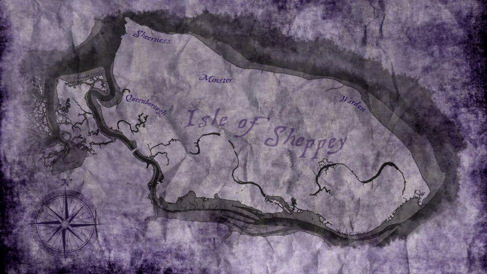 Map showing Deadman's Island