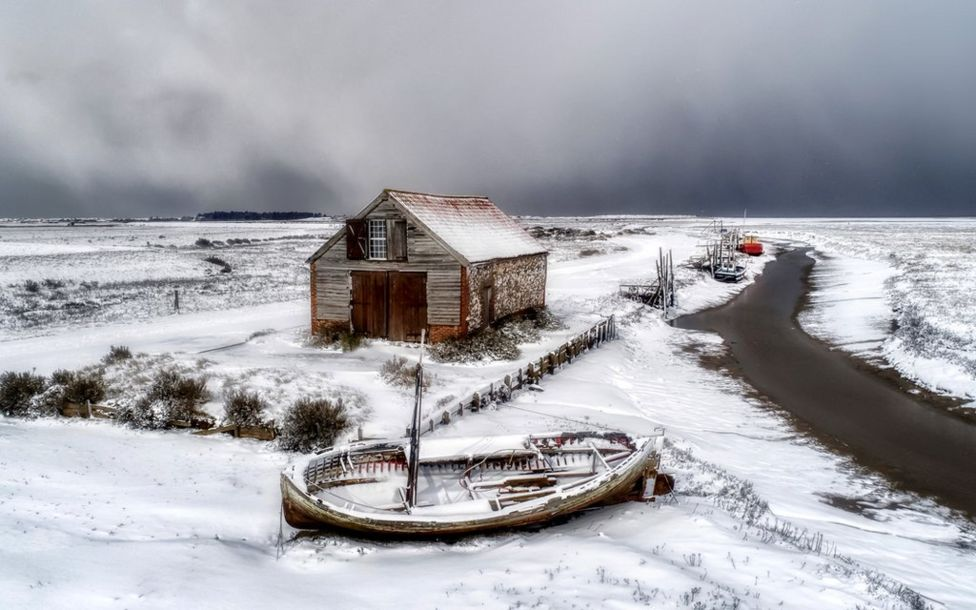 Beast from the east wraps Thornham Staithe in snow