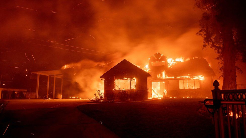 A home burns during the Hillside fire in the North Park neighbourhood of San Bernardino, California on October 31, 2019