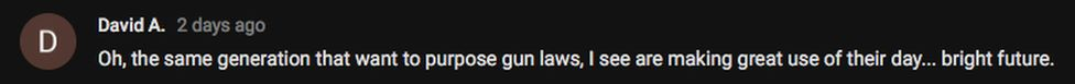 """Screenshoot of comment: """"Oh, the same generation that wants to propose gun laws, I see are making great use of their day..."""