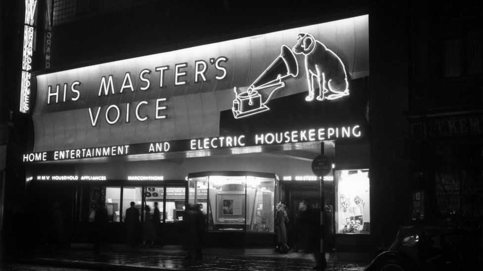 HMV shop, Oxford Street, London in 1949.