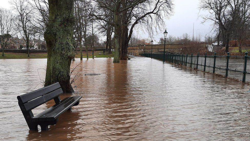 River Eden in the town of Cupar, in Fife, Scotland having burst its banks.