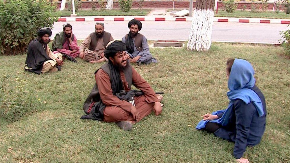 Lyse Doucet, right, speaks with the Taliban in Kabul, 2 September 2021