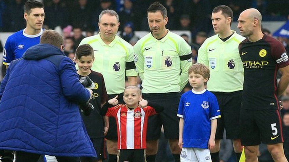 Bradley was all smiles as he posed for the pre-match photo alongside Everton captain Gareth Barry and Manchester City's Pablo Zabaleta