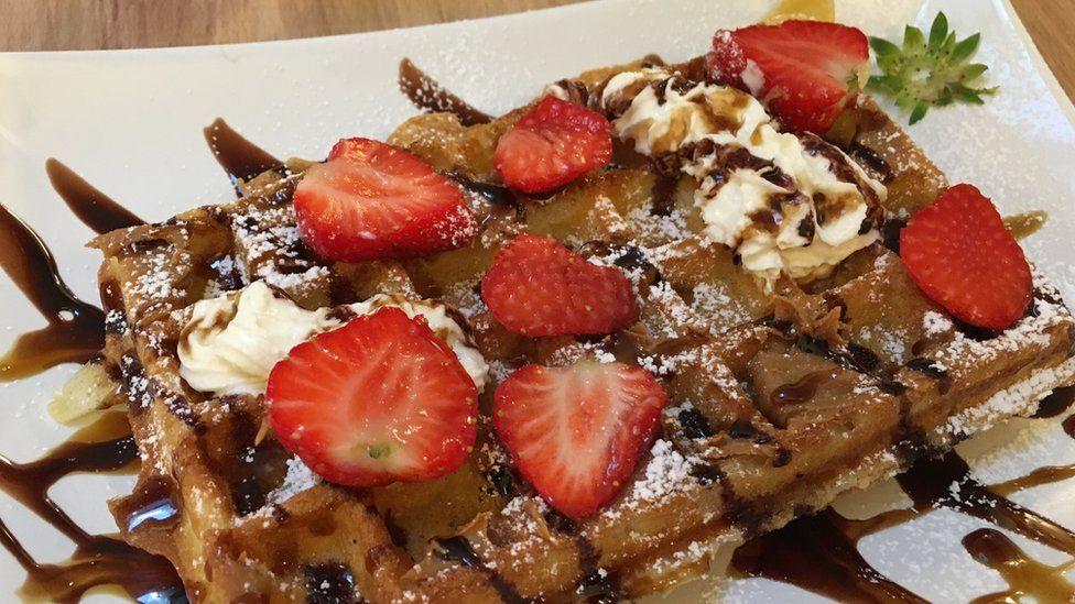A waffle made at Waffle Workshop