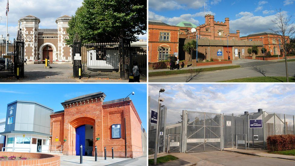 Clockwise from top left: Wormwood Scrubs, Hull, Lindholme and Nottingham prisons