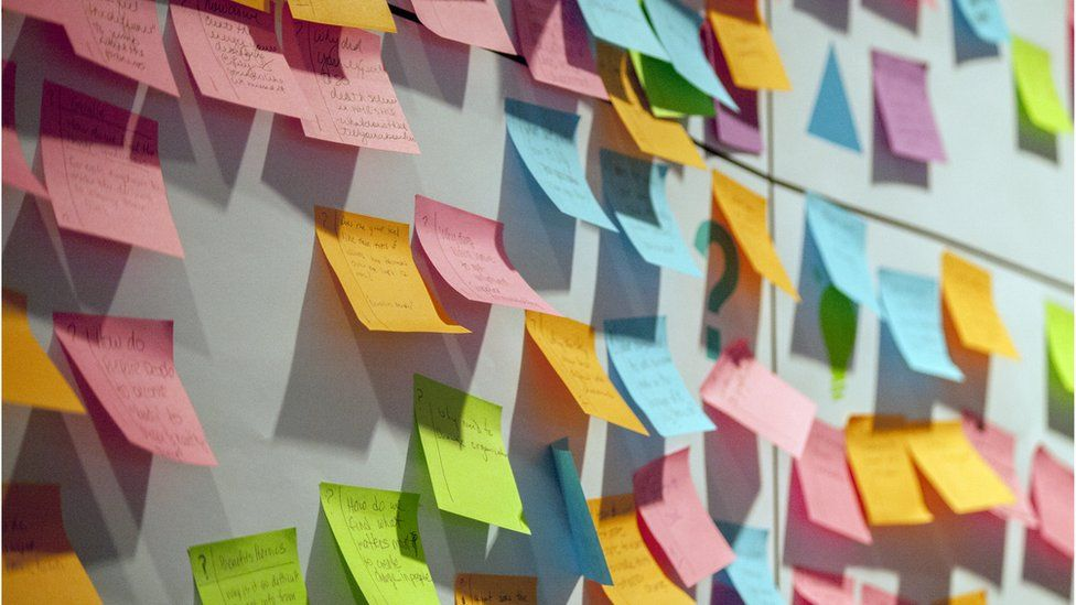 A stock image showing a wall of coloured sticky notes