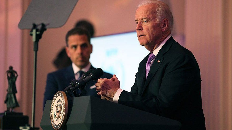 Hunter Biden watches his father, the US vice-president, speak at an event in Washington in 2016