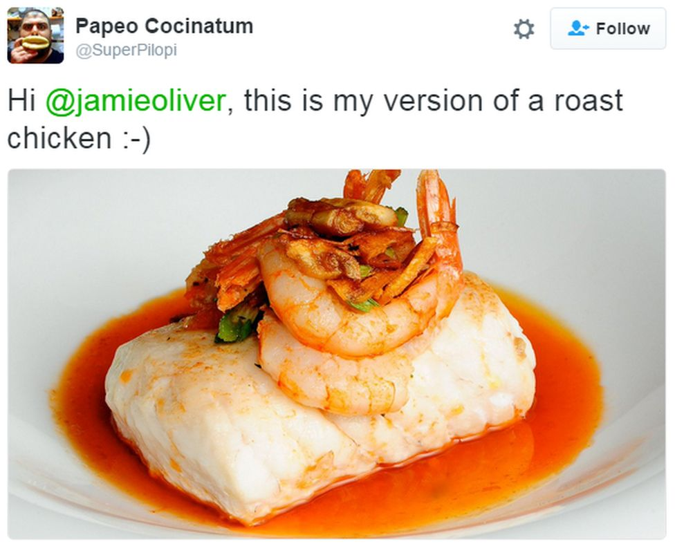 "A tweet reads: ""Hi @jamieoliver, this is my version of a roast chicken :-)"" with a picture of some fish"