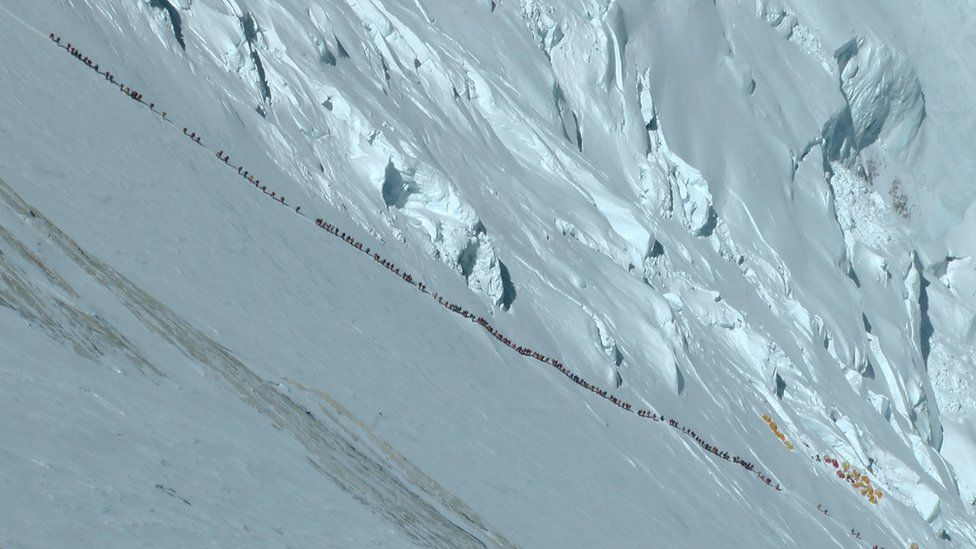 A line of climbers at Everest