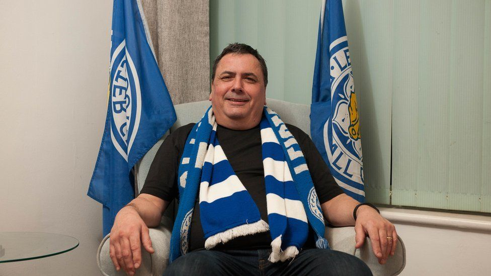 John Pryke with his Leicester City flags