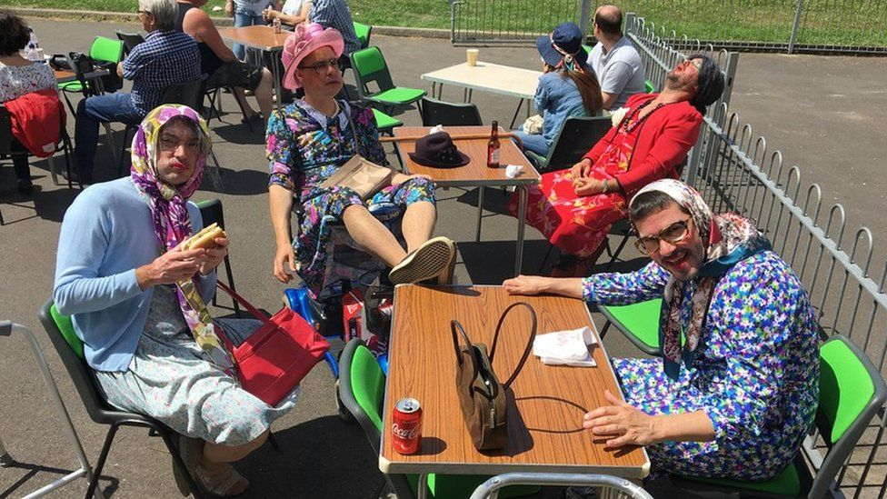 A team of men dressed up as grannies