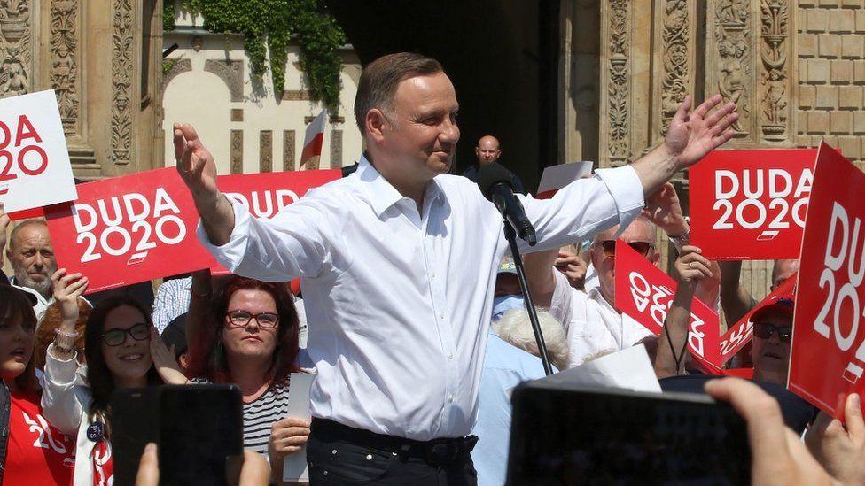President Andrzej Duda with supporters in Brzeg, 13 Jun 20