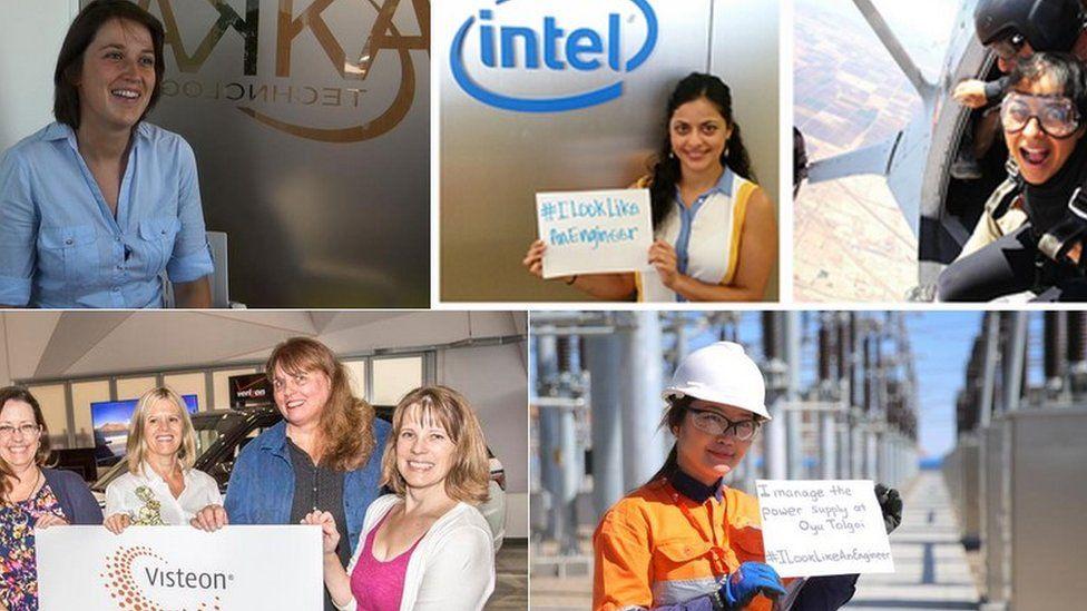 women taking part in #ilooklikeanengineer campaign