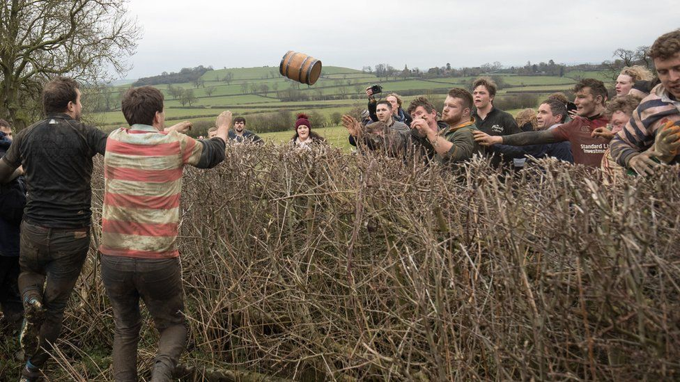 Barrel gets thrown over the hedge