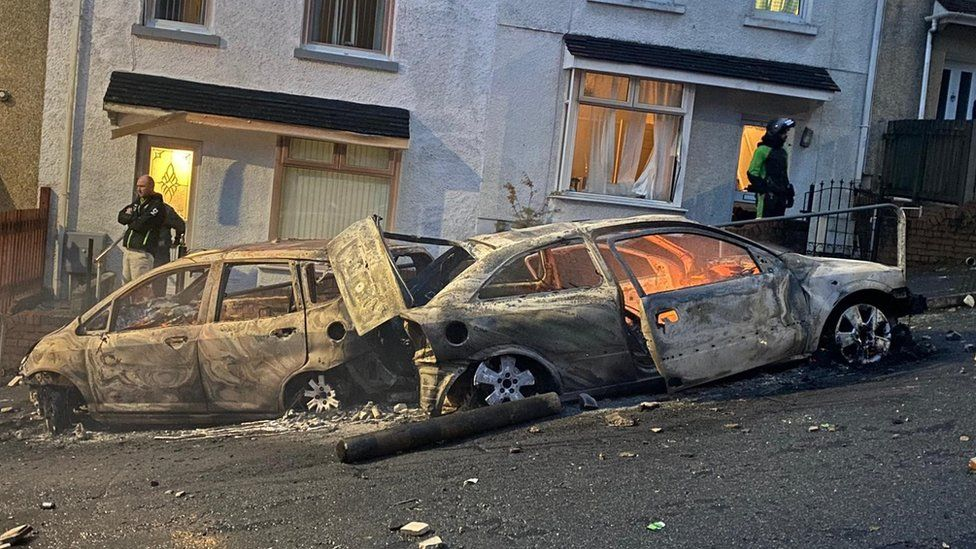 Burned out cars in Mayhill