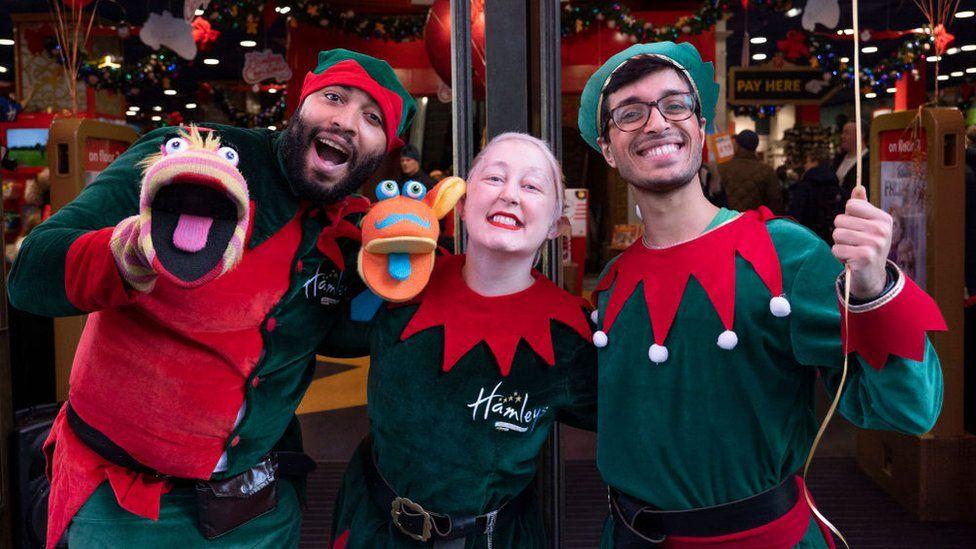 Hamleys elves outside its flagship Regent Street store