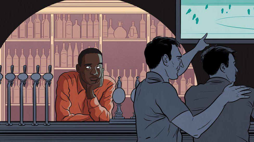 Michael doing bar work