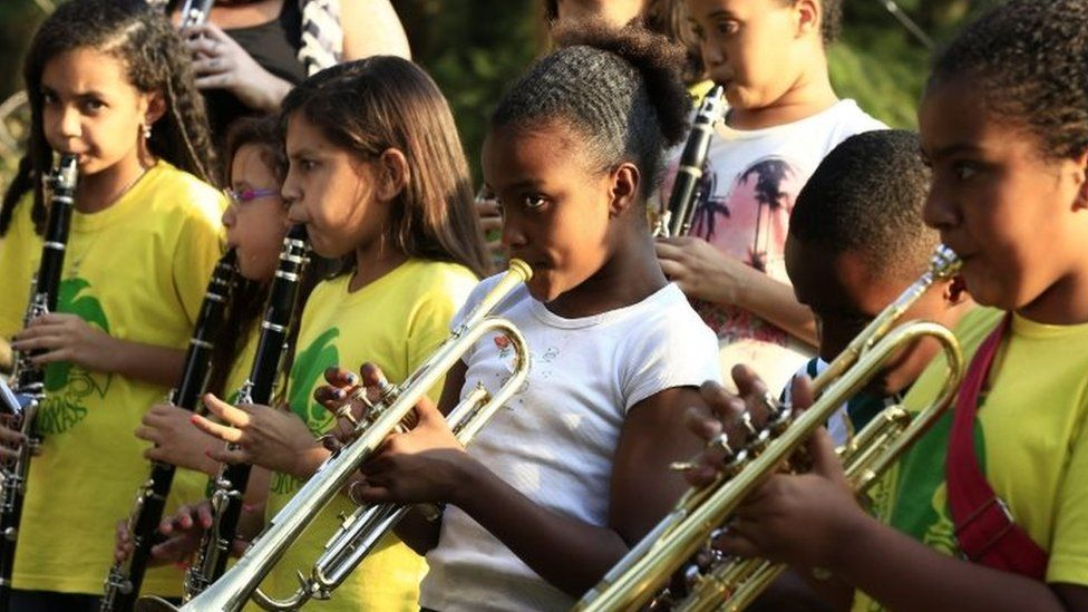 Members of a favela Brass band rehearse in Rio de Janeiro (01 August 2016)