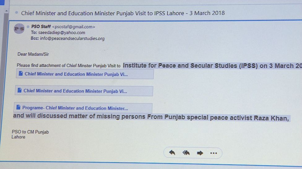 A screenshot of the email Mrs Saeeda received reportedly from the chief minister of Punjab.
