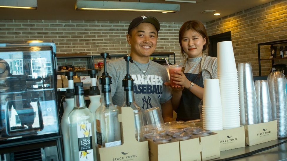 Joseph Park in his coffee shop in Seoul