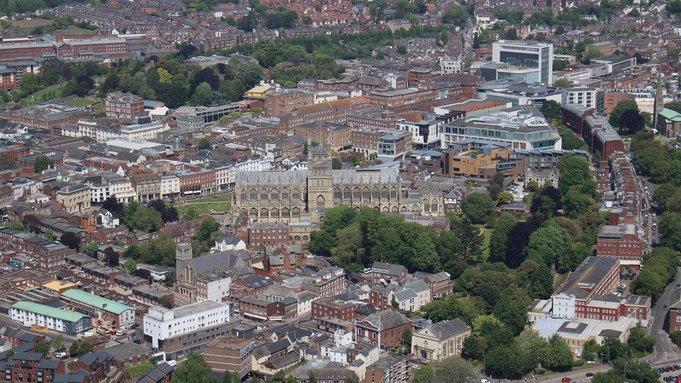 An aerial view of Exeter