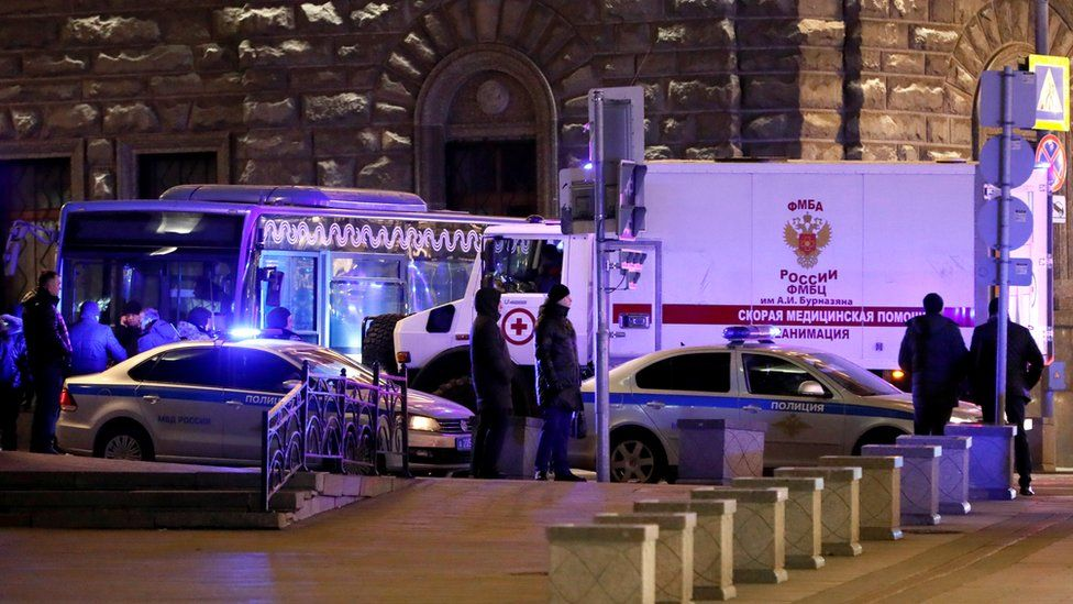 An ambulance at the site of a shooting incident near the Federal Security Service (FSB) building in Moscow, 19 December 2019