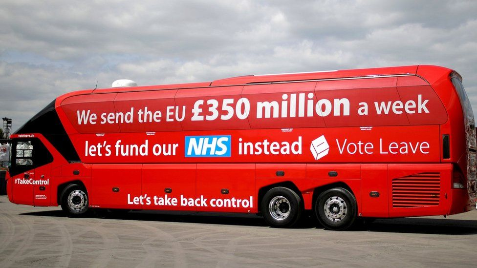 Vote Leave's campaign bus with £350m claim