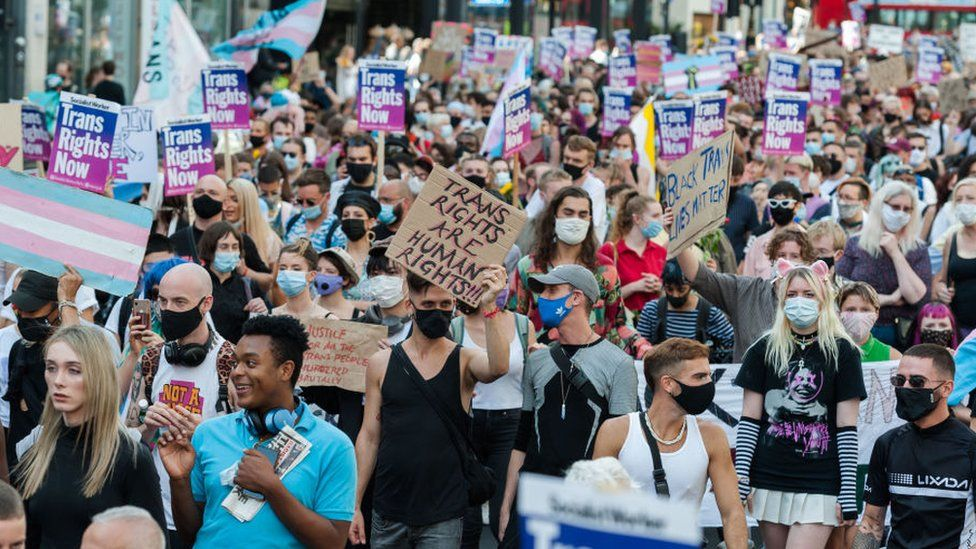 London's second Trans Pride protest march for equality in London on 12 September 2020 in London