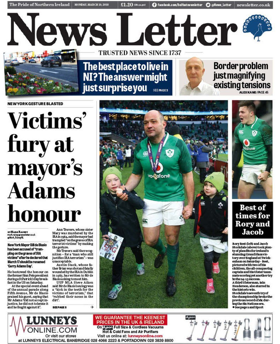 News Letter front page, 19 March 2018