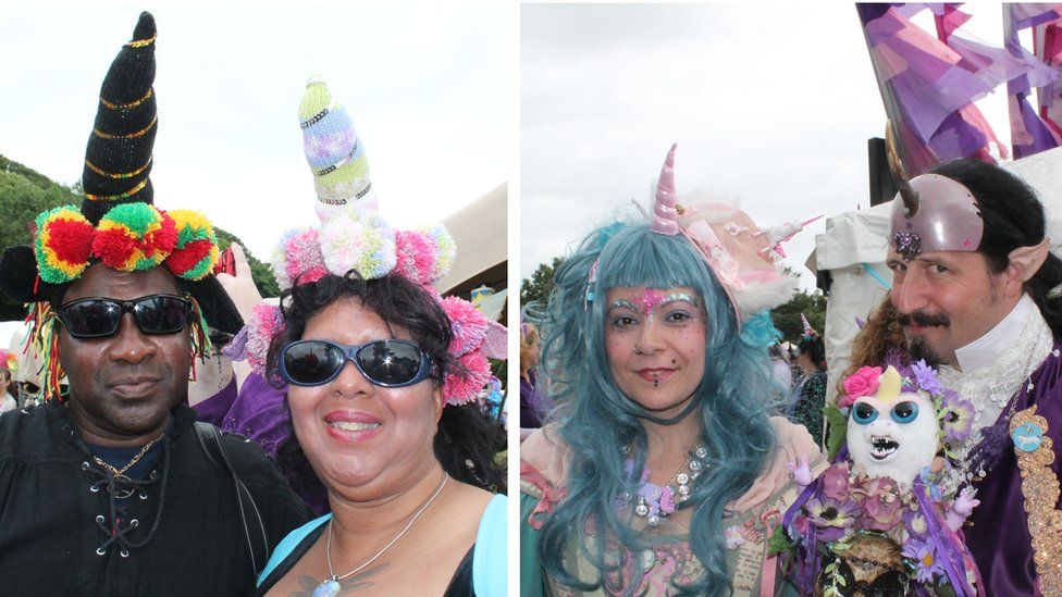 Couple with woollen unicorn horns and wigs