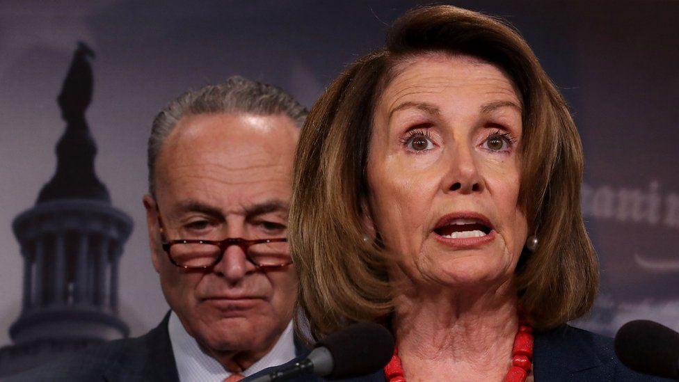 House Democratic leader Nancy Pelosi (R) and Senate Democratic leader Chuck Schumer