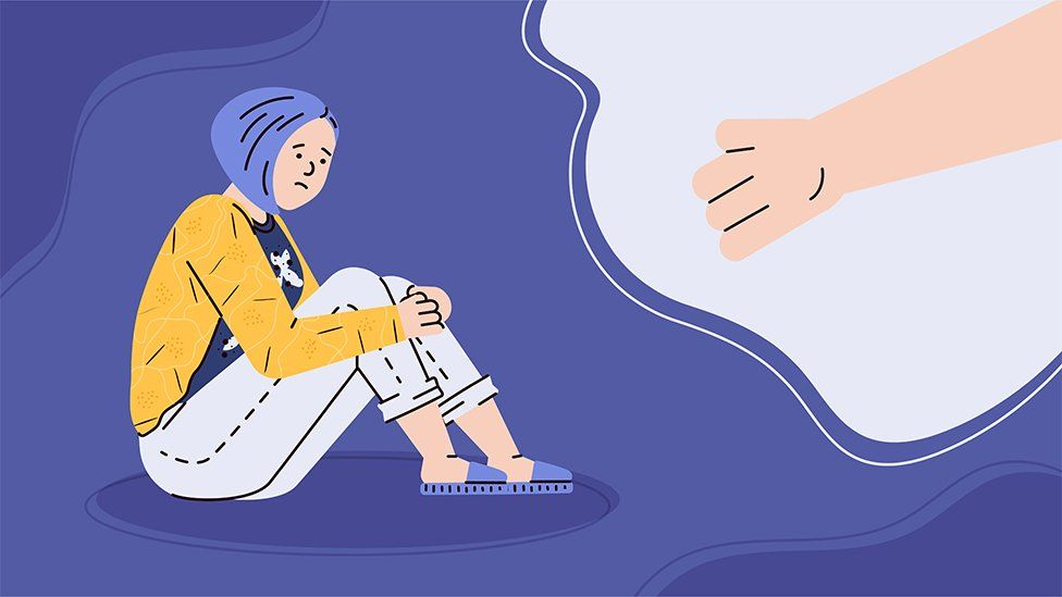 Illustration of person sitting alone