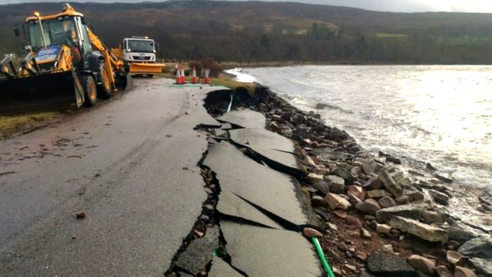 Damage to a road in Applecross