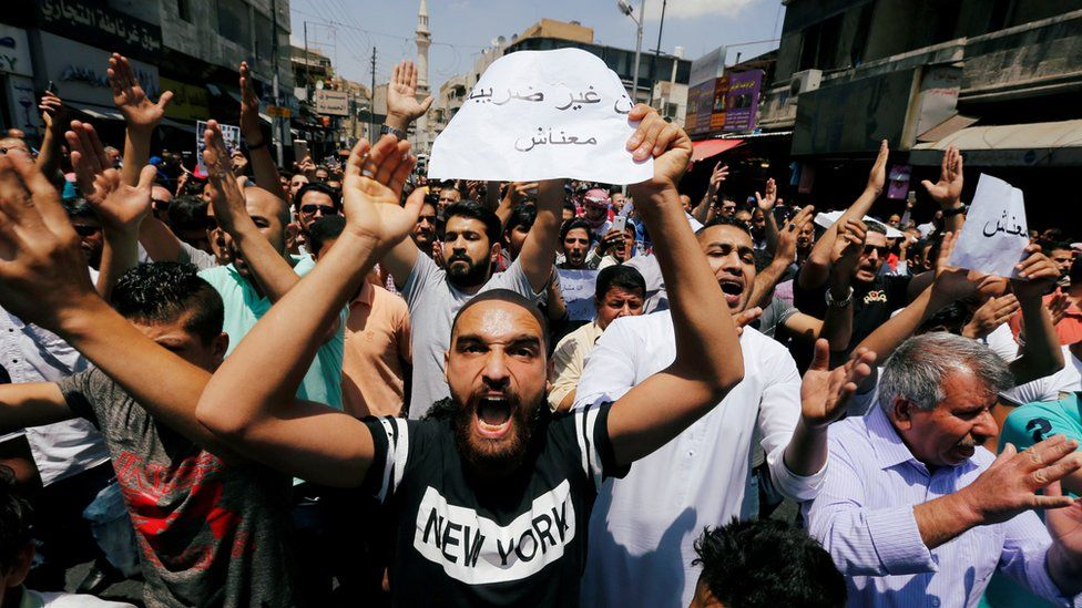protesters in Amman on 1 June