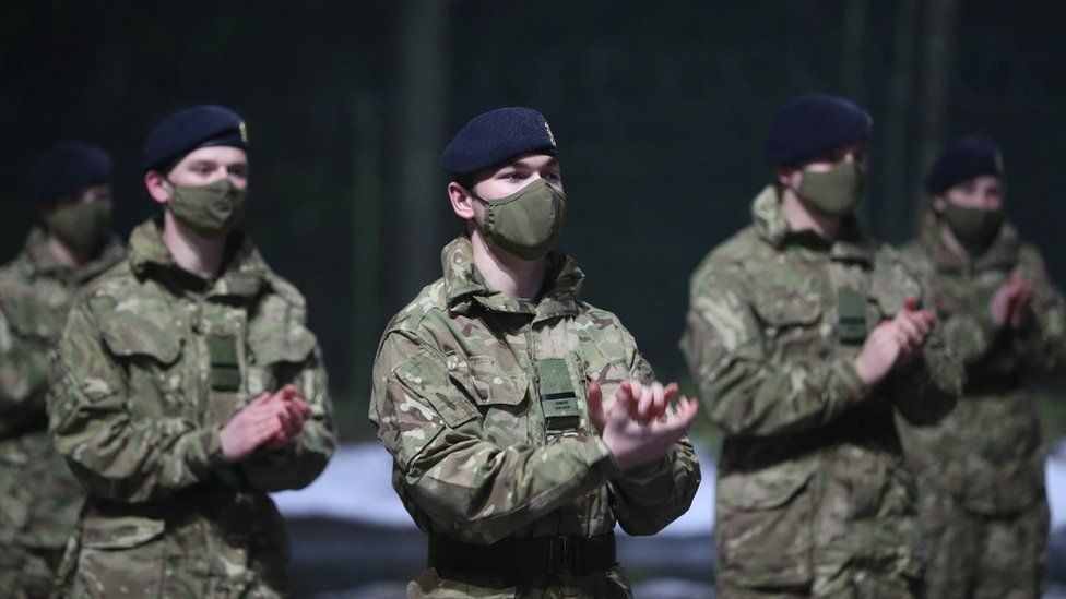 Junior soldiers at the Army Foundation College in Harrogate, North Yorkshire, joining in with the nationwide clap in honour of Captain Sir Tom Moore