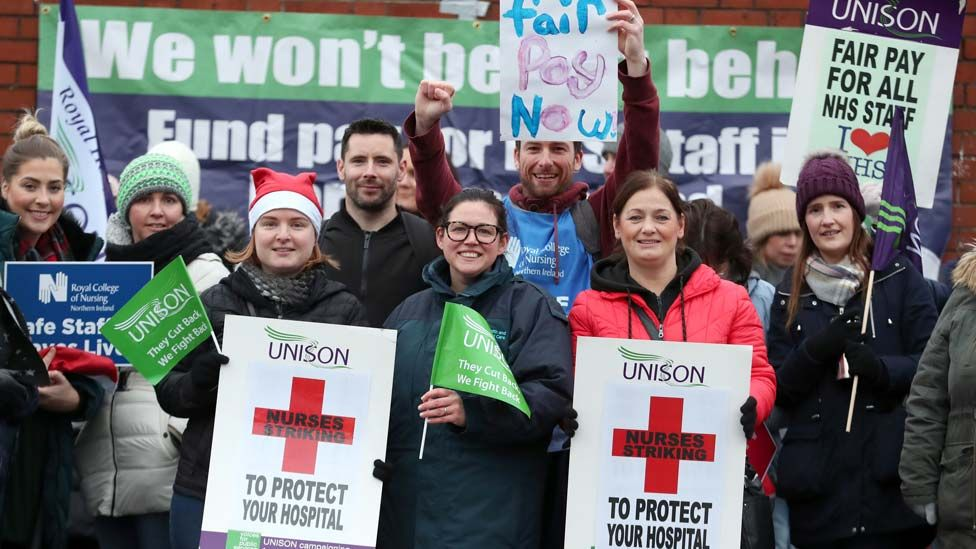 Nurses are on picket lines across Northern Ireland earlier this month