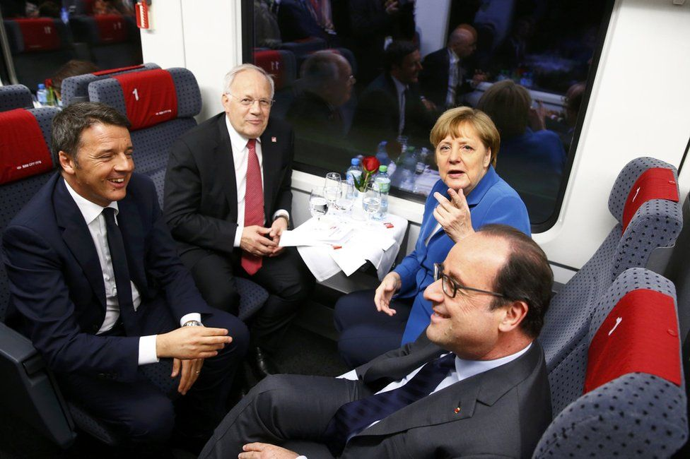 VIP tunnel excursion (clockwise from left): Italian Prime Minister Matteo Renzi, Swiss Federal President Johann Schneider-Ammann, German Chancellor Angela Merkel and French President Francois Hollande, 1 June