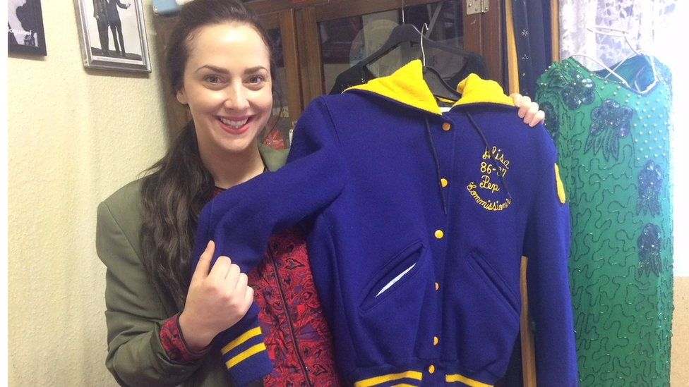 Ann-Louise Bresnahan with the jacket she picked up in Los Angeles