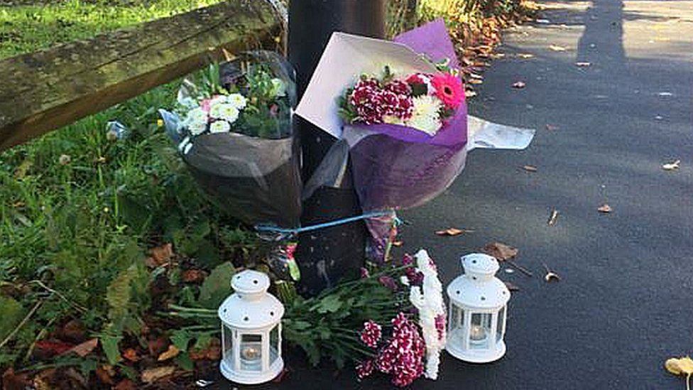 Floral tributes at scene of Newcastle murder