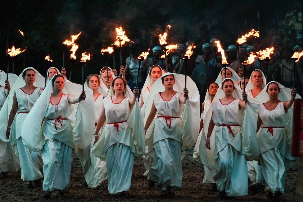 Participants perform during a full dress rehearsal preview evening for the Kynren event