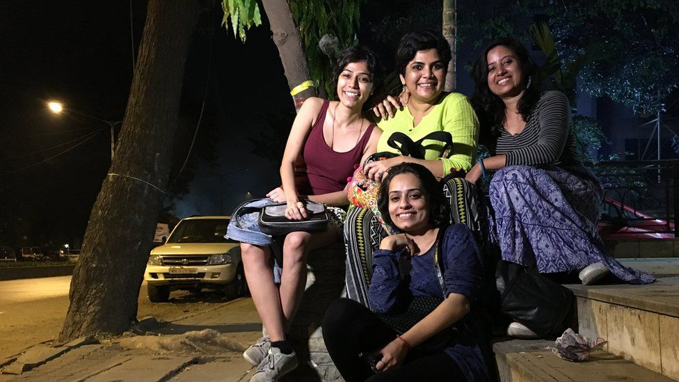 (left to right) Celina John, Archana Patel Nandi, Neha Singh and Devina Kapoor (front) of the Why Loiter group in Mumbai