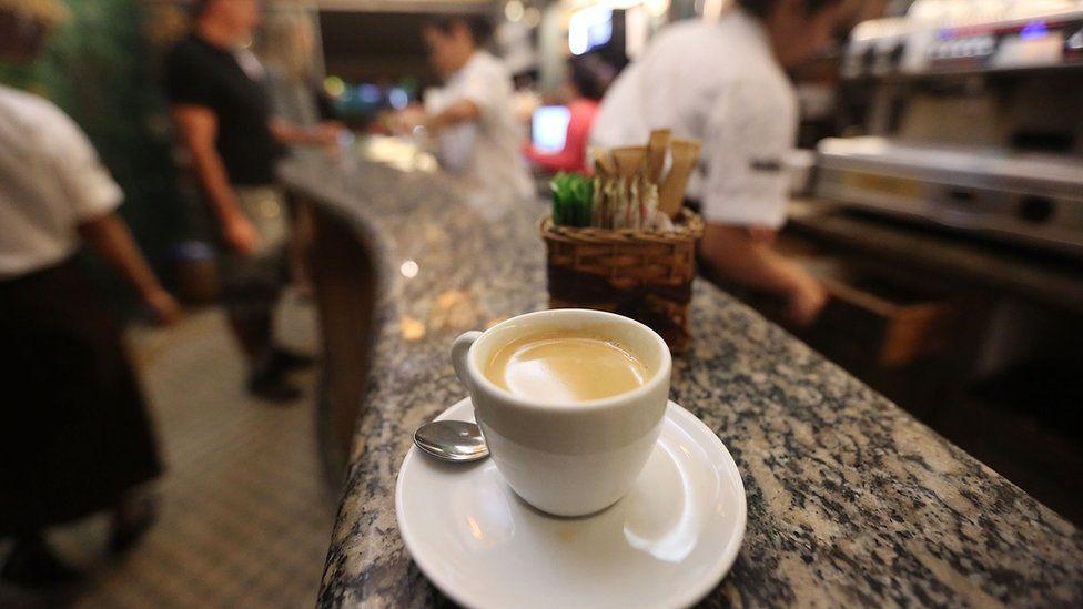 A coffee on the counter of a cafe in Rio de Janeiro