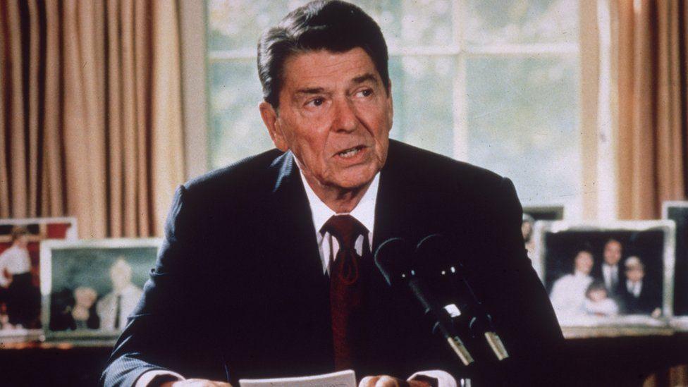 American president Ronald Reagan in 1985