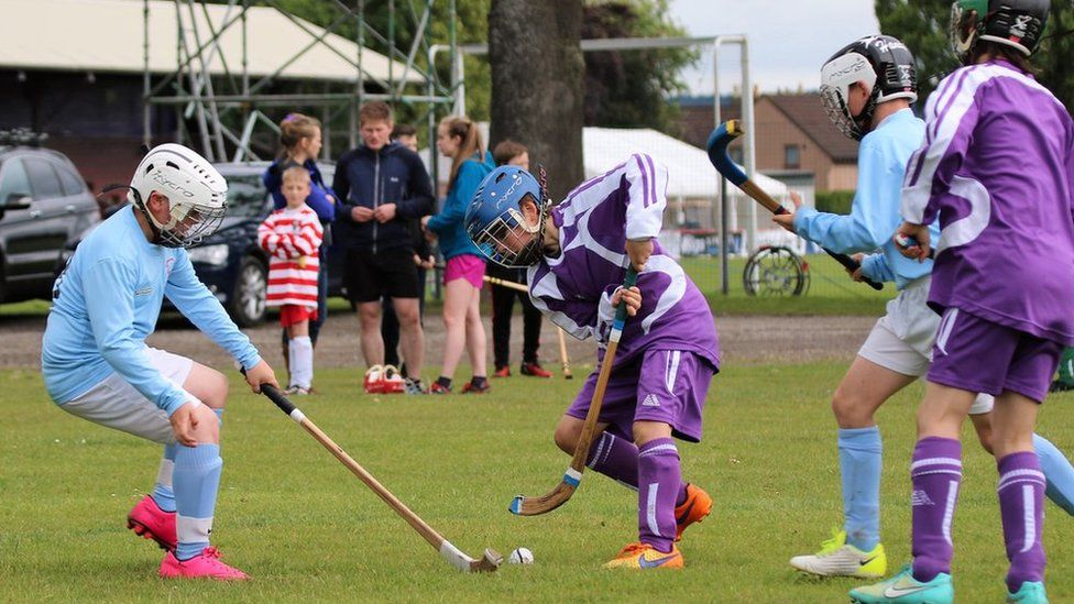 Young shinty players