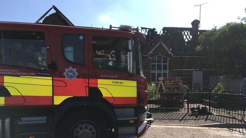 Fire engine at Woodborough Primary School