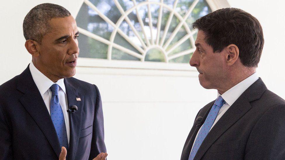 Barack Obama speaks to Jon Sopel on the Colonnade